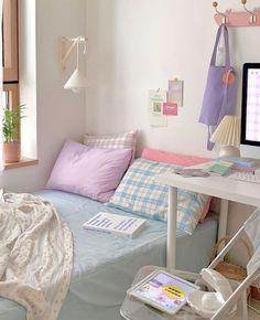 Cute Room Ideas, Cute Room Decor, Study Room Decor, Room Ideas Bedroom, Korean Bedroom Ideas, Bedroom Bed, Zen Bedroom Decor, Home Decor, Pastel Bedroom