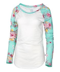 Another great find on #zulily! Venley White & Mint Floral-Sleeve Raglan Tee by Venley #zulilyfinds