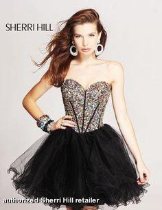 SherriHill all beaded multi corset with black tulle  prom dress  www.pzazdresses. f02744fb6d160