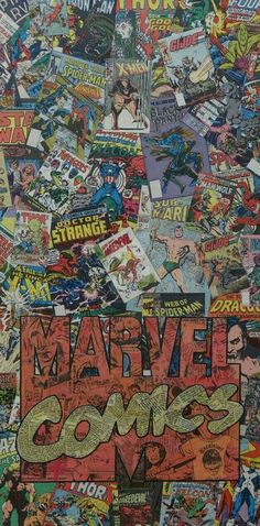 Marvel Comics Logo by MikeAlcantara on DeviantArt gallery wrap canvas, collaged image of Cap's shield - Visit to grab an amazing super hero shirt now on sale! Marvel Comics Wallpaper, Marvel Comics Art, Avengers Wallpaper, Odin Marvel, Spiderman Marvel, Vision Marvel, Comics Vintage, Marvel Logo, Comic Panels