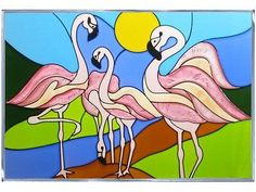 A Flock of Flamingos is created in exquisite detail and breath-taking color.  This remarkable flamingo design lends an elegant touch to any decor.