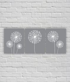 Grey And White Wall Art dandelion wall decor gray white black home decor bedroom decor