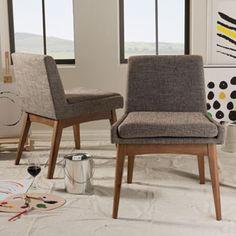 Baxton Studio Phanes Mid-Century Modern Walnut Wood Finishing and Gravel Fabric Upholstered Dining Chair 2-Piece Set