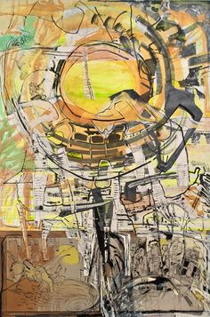 """Iva Gueorguieva, Oppenheimer's Eye, 2011 Acrylic and collage on clayboard 74"""" x 45"""