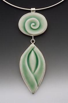 """""""Celadon Double Pendant"""" - Lynne Meade (porcelain)"""