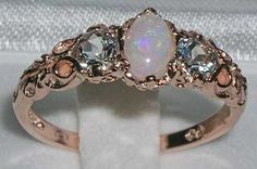 Solid 9K Rose Gold Natural Opal & Aquamarine Ring English