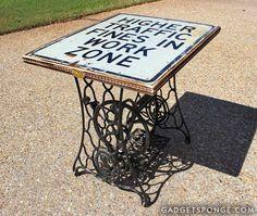 Repurposed Singer Sewing Machine Base Traffic Sign Table