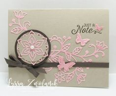Light pink on Kraft, circle and small punched butterflies