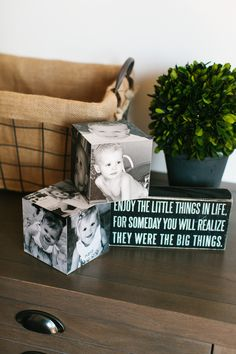 Birthday Photo Cubes! I used a photo from each of the kids' birthdays, ages 1 - 5 on these @Shutterfly photo cubes and they turned out adorable! See my other projects here: http://www.thetomkatstudio.com/shutterflyhomedecor/  #shutterflydecor
