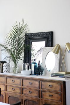 3 ways to use tropical statement leaves like monstera and palm fronds   buffet styling   bar styling