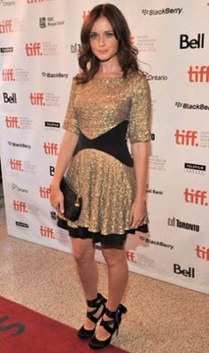 Alexis Bledel wears Saloni Fuschia Gold Sequin Dress at the