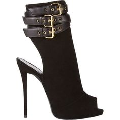 Giuseppe Zanotti Cutout Ankle-Strap Boots ($519) ❤ liked on Polyvore featuring shoes, boots, ankle booties, heels, black, shoes and boots, black booties, black suede booties, high heel stilettos and suede peep toe bootie