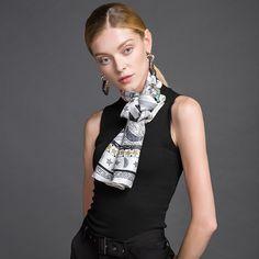 Hodvábna luxusná ženská šatka - 106 x 106 cm Outfit, Womens Fashion, Scarves, Outfits, Women's Fashion, Woman Fashion, Kleding, Clothes, Fashion Women