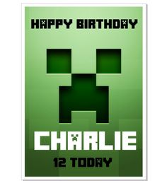The Creeper Inspired by Minecraft  Personalised by DoggyCards, £2.99