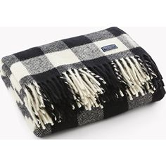 Buffalo Plaid Wool Throw, White and Black traditional-throws