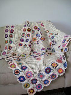 """Love Crochet: Crochet Cotton Children's Flower blanket afghan granny squares 50""""X56"""""""
