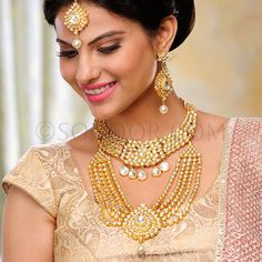 BRI/1/3102 Malika Bridal Set includes Necklace, Rani Haar attached with Necklace, Earrings, and Maang Tika in gold finish studded with parab kundan 	 $888	 £524