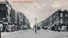 Amwell Street looking north in From junction with Lloyd Baker Street (left) and River Street London History, British History, History Online, London Photos, Old London, Baker Street, Street View, River, Family History
