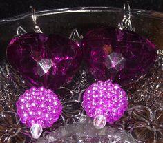 Purple Puffy Heart Earrings by reddirtroseokc on Etsy