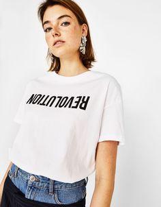Ecologically grown cotton T-shirt - Bershka #fashion #product #tshirt #revolution #lettering #trend #trendy #girl #girly