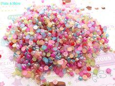 300 pcs Colorful Half Pearl Flatbacks Decoden on Etsy, $3.95