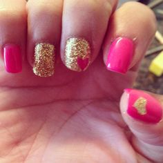 Shellac pink and gold