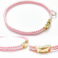 Small Dog Collar - Paracord Dog Collar - Paracord 95 Dog Collar Paracord 95 - Pink Dog Collar - Macrame Dog Collar - Fancy Dog Collar - by OurUniverseShop on Etsy