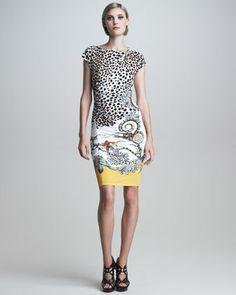 Cap-Sleeve Mixed-Print Dress by Roberto Cavalli at Neiman Marcus.