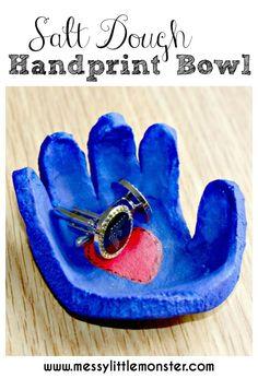 Salt dough handprint bowl DIY fathers day gift idea.  Kids can use salt dough to make a handprint bowl keepsake for cufflinks or keys.