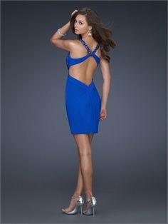 Sequin Strap Sweetheart Twist Drape Cross Back Electricblue Mini Prom Dress PD1704 http://www.simpledresses.co.uk