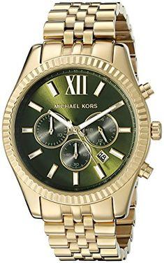 e05b03635643 New Michael Kors Lexington Gold Tone Green Dial Mens Chronograph Watch