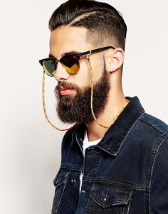 ASOS Sunglasses Chain In Paracord at ASOS. Hipster Fashion, Mens Fashion, Diy Fashion, Fashion Online, Moda Blog, Cool Hairstyles For Men, Jewelry Trends, Men's Jewelry, Jewellery
