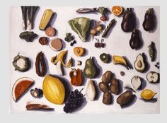 Lisa Milroy - food I chose this image because I like the colours and the way she drew loads of food. It connects with my work because I want to draw different pieces of food in the same work/ 1999 Collections Photography, Photography Themes, Natural Form Artists, Natural Forms, Lisa Milroy, Still Life Artists, Canadian Painters, Food Painting, A Level Art