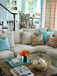 Coral is a refreshing hue that has its base of orange but is far more elegant and yet equally vibrant and sunny. When combined with teal or aqua, these colours Instantly freshen dull rooms.