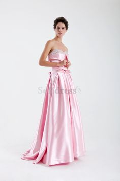 Thin Floor Length Pink Outdoor Sweep Train Spring Ruched Elegant & Luxurious Natural Waist Evening Dress