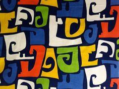 Mod 60s Abstract Geometric Design Fabric// Hippie by KimberlyZ