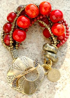 Get Your RED on! Luscious Red Venetian Glass and Bronze Multi-Strand Bracelet
