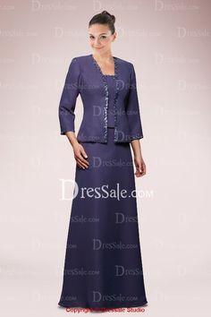 $146.99 Satin Elegant Mother of the Bride Dress with Cropped Jacket http://www.dressale.com/elegant-mother-of-the-bride-dress-with-cropped-jacket-p-35043.html