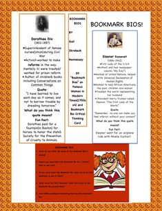 Bookmark Bios(Women in Modern History: to present) Primary History, Teaching History, Teaching Resources, Teaching Ideas, Women In History, World History, Interactive Notebooks, Interactive Activities, Independent Reading