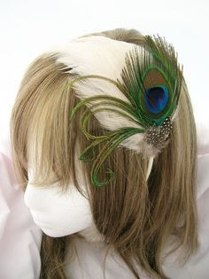 Peacock feather headband fascinator TARI Design in IVORY - CHOOSE headband, hair clip, comb, or ribbon ties for reception