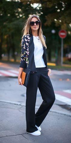 street style fall floral blazer