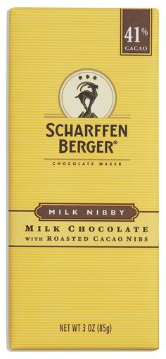 SCHARFFEN BERGER 41% Milk Nibby chocolate bar unites the luxurious caramel richness of our milk chocolate with the delicious and crunchy texture of roasted cacao beans.