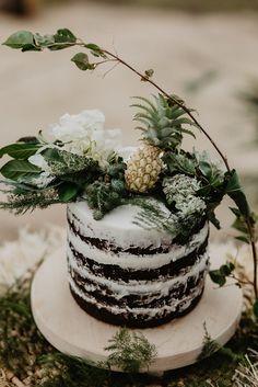 RAYMI + CONAL // #wedding #elopement #cake #sweets #nakedcake #foliage #flowers #pineapple #love