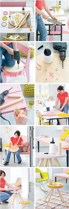 ChicDecó: Proyecto de bricolaje: mesita auxiliar de 3 bandejasDIY: pretty coffee table with 3 trays