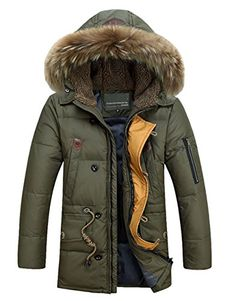 Men's Down Parkas Jackets Fashion Man Hooded Thick Warm Outwear Overcoat (XXX-Large, Army Green) * Check this awesome product by going to the link at the image.