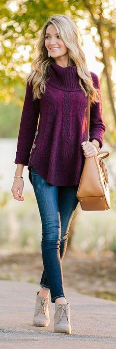 Bordeaux Cowl Neck Button Accent Sweater