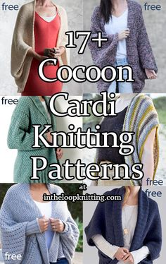 Cocoon Cardigan Knitting patterns for cozy cardigans, often easy, with a scooped silhouette. Many are knit flat in one piece, with or without added sleeves. Most patterns are free. Shrug Knitting Pattern, Knit Cardigan Pattern, Sweater Knitting Patterns, Knitting Stitches, Knit Shrug, Knit Sweaters, Lace Cardigan, Baby Knitting, Free Knitting Patterns For Women