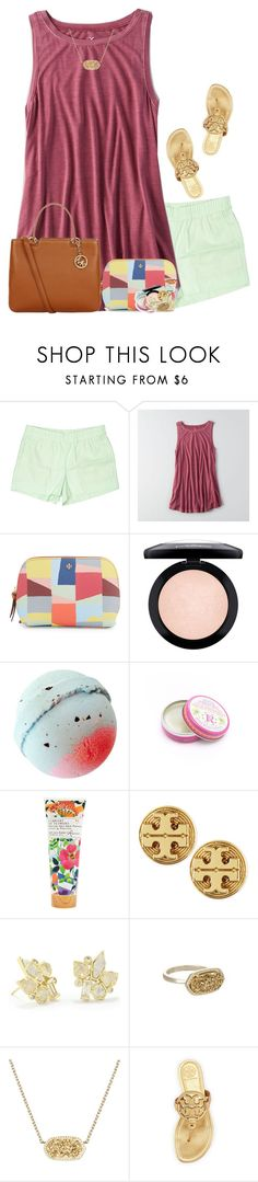 """""""God is good"""" by livnewell ❤ liked on Polyvore featuring J.Crew, American Eagle Outfitters, Tory Burch, MAC Cosmetics, Rosebud Perfume Co., Library of Flowers, Kendra Scott and Michael Kors"""