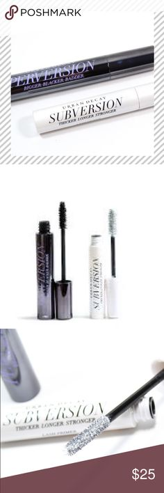 UD Subversion Lash Primer + Perversion Mascara UD Subversion Lash Primer + Perversion Mascara full sized. If you want fuller thinker and longer lashes YOU NEED THIS PRIMER! I will sell the primer individually however by request only. UD Subversion full size is $22 retail but sold alone (w/out perversion) is $12 on here however if your interested in Perversion spend ONLY $10 more and get the best duo team out there.   Buy today and thank me later 💋👌 Urban Decay Makeup Mascara