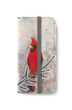 The red cardinal in winter iPhone Wallet by @savousepate on @redbubble #iphonewallet #phonewallet #watercolor #painting #drawing #red #grey #gray #winter #snow #bird